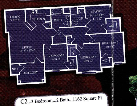 1,162 sq. ft. C1/60% floor plan