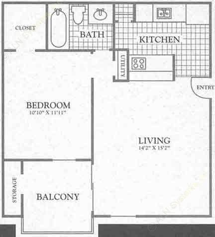 560 sq. ft. Garden Ridge floor plan