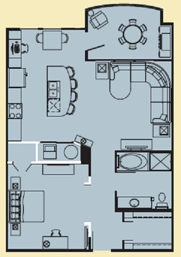 926 sq. ft. C floor plan