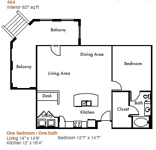 927 sq. ft. to 1,130 sq. ft. 4A4 floor plan