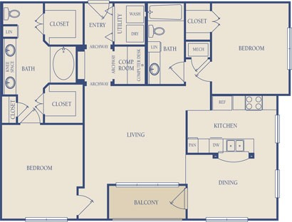 1,229 sq. ft. B1 floor plan