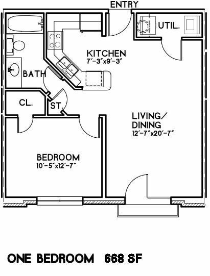 668 sq. ft. to 750 sq. ft. Nightingale floor plan
