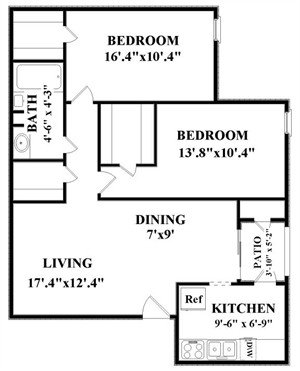965 sq. ft. C1 floor plan