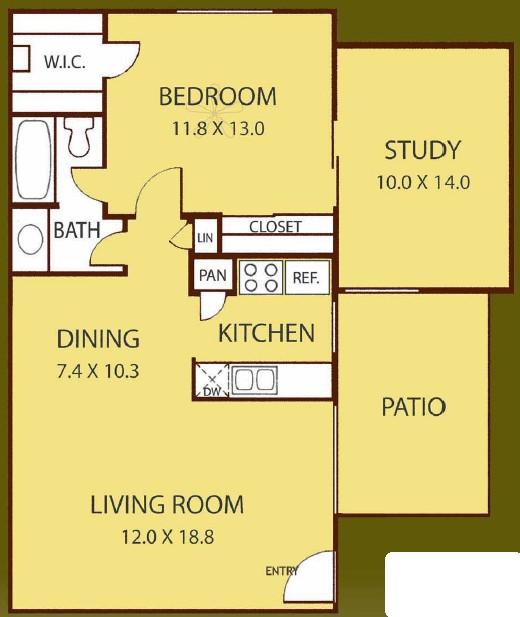853 sq. ft. JUNIPER floor plan