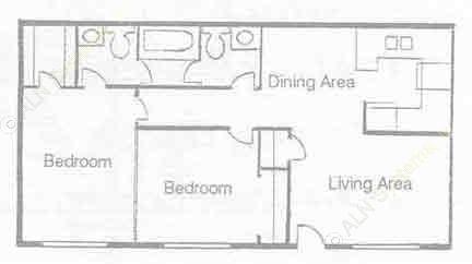 837 sq. ft. B-13 floor plan