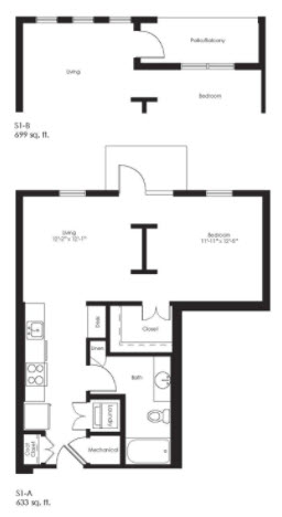 699 sq. ft. S1B floor plan
