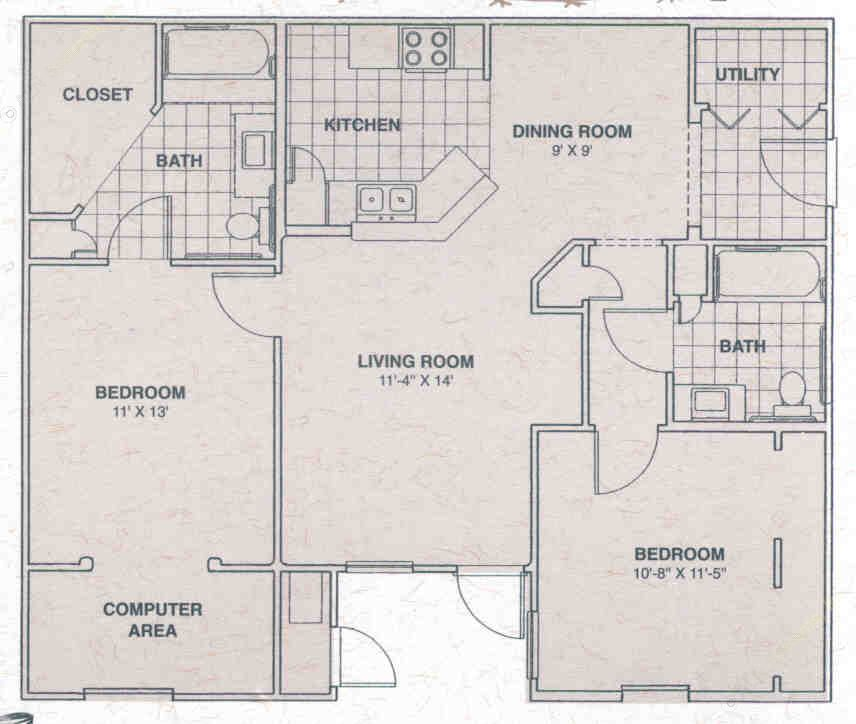 810 sq. ft. PRESERVE floor plan