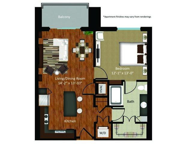 825 sq. ft. A14 floor plan