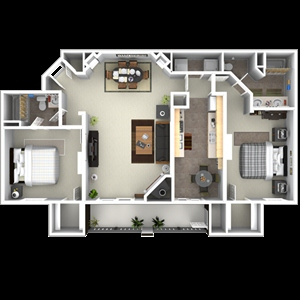 1,209 sq. ft. to 1,238 sq. ft. C4 floor plan