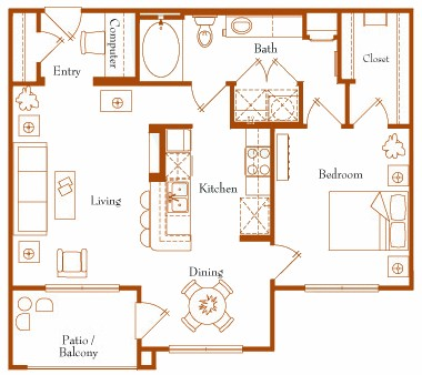 815 sq. ft. Vega 11B floor plan
