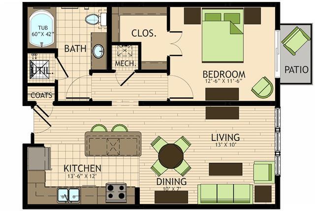 755 sq. ft. to 794 sq. ft. Vangogh floor plan