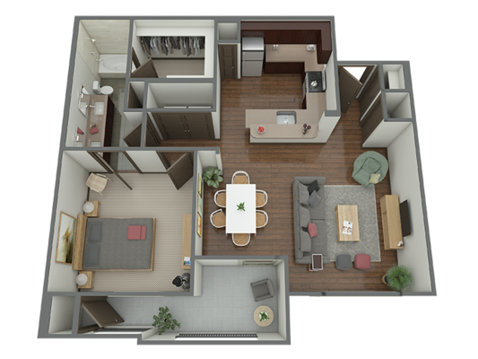 833 sq. ft. to 1,125 sq. ft. A3 floor plan