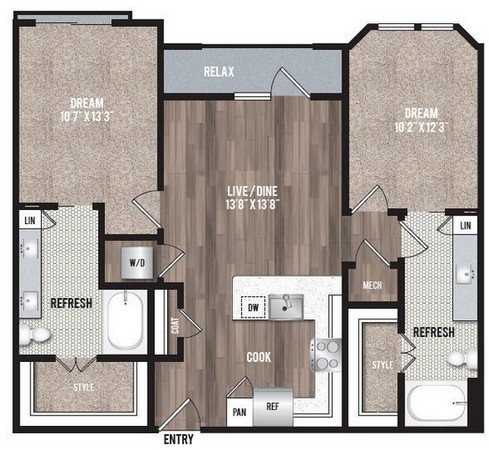 1,128 sq. ft. B1.6 floor plan
