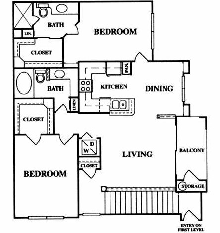 1,158 sq. ft. B4 floor plan