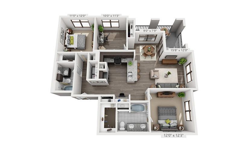 1,288 sq. ft. B3 floor plan