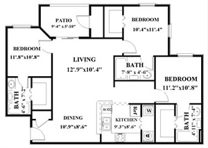 1,111 sq. ft. C floor plan