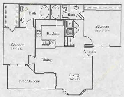 1,020 sq. ft. B-1 floor plan