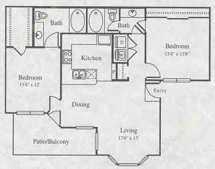 1,020 sq. ft. B-1 floor plan