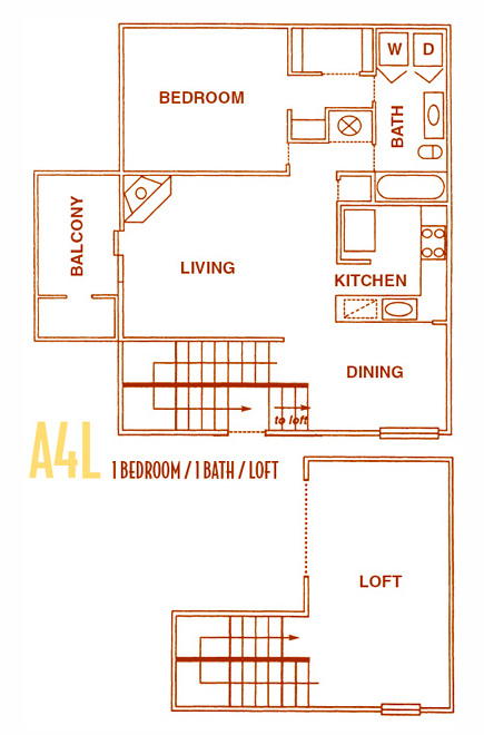 1,050 sq. ft. A4 floor plan