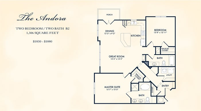 1,306 sq. ft. Andora floor plan