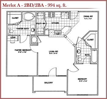994 sq. ft. MERLOT A floor plan