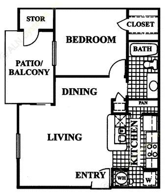 648 sq. ft. St Tropez floor plan