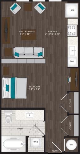 553 sq. ft. E4 floor plan