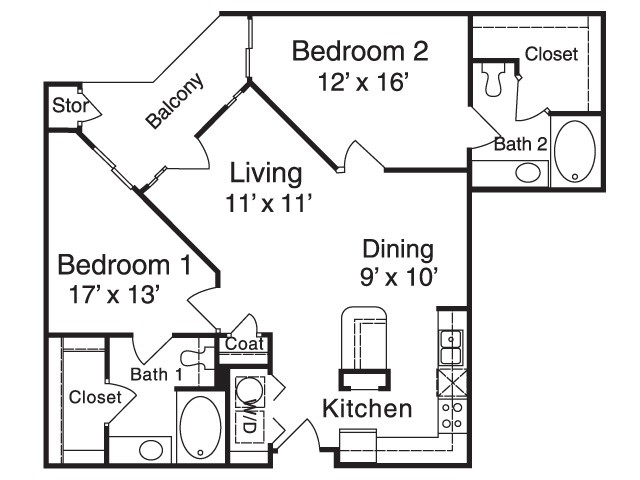 1,010 sq. ft. MPB5 floor plan