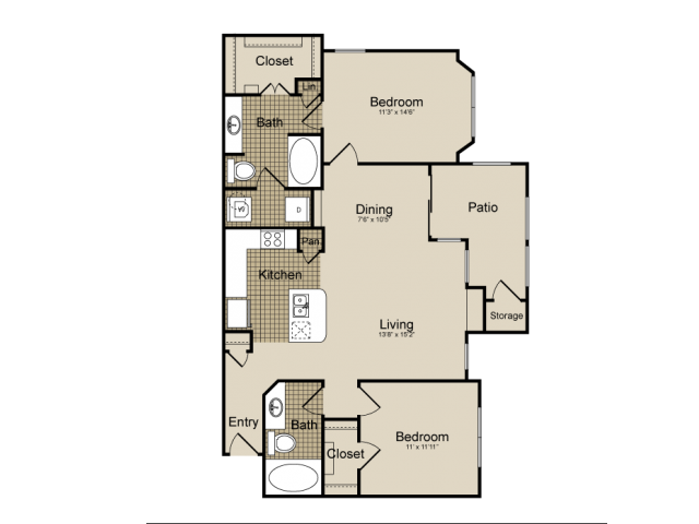 1,113 sq. ft. Orion   (B3) floor plan