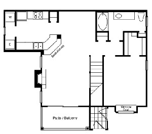 863 sq. ft. A1 floor plan
