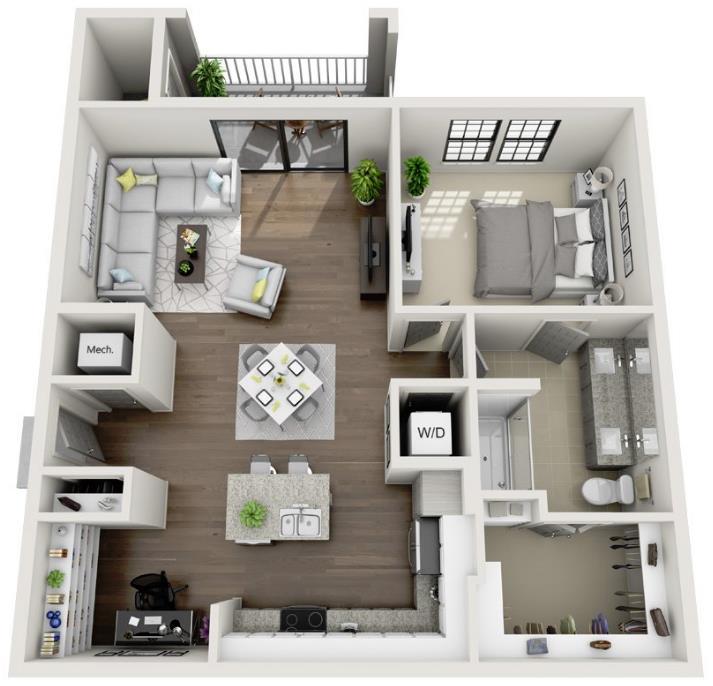 960 sq. ft. A6.1 floor plan