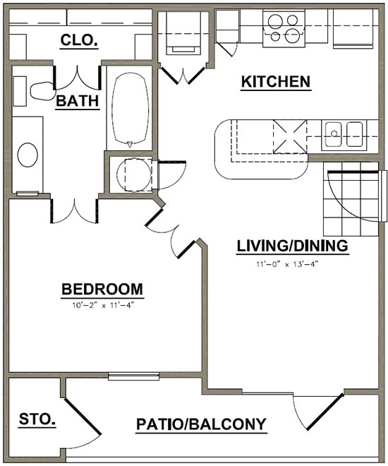 504 sq. ft. Charter Oak floor plan