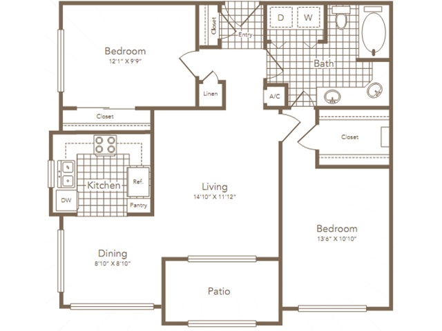933 sq. ft. RICE floor plan