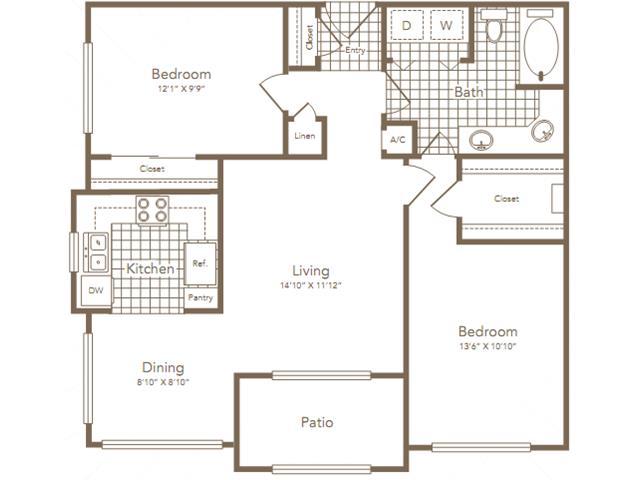 933 sq. ft. Rice floor plan
