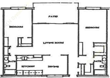 1,154 sq. ft. B-3 floor plan