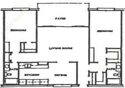 1,154 sq. ft. B3 floor plan