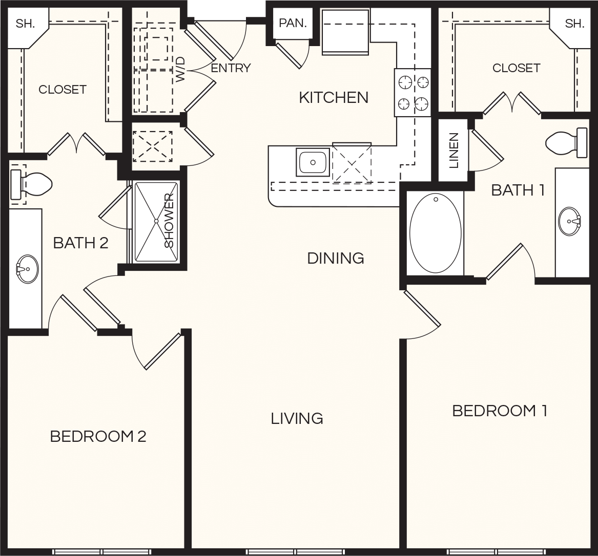 1,171 sq. ft. B1 floor plan