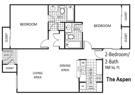 988 sq. ft. Aspen floor plan