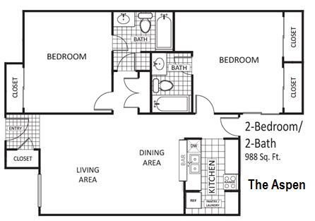 988 sq. ft. Aspen floor plan