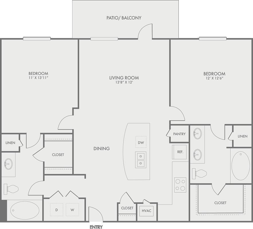 1,070 sq. ft. B1 floor plan