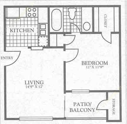 500 sq. ft. 3A1 floor plan