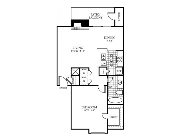 733 sq. ft. A floor plan