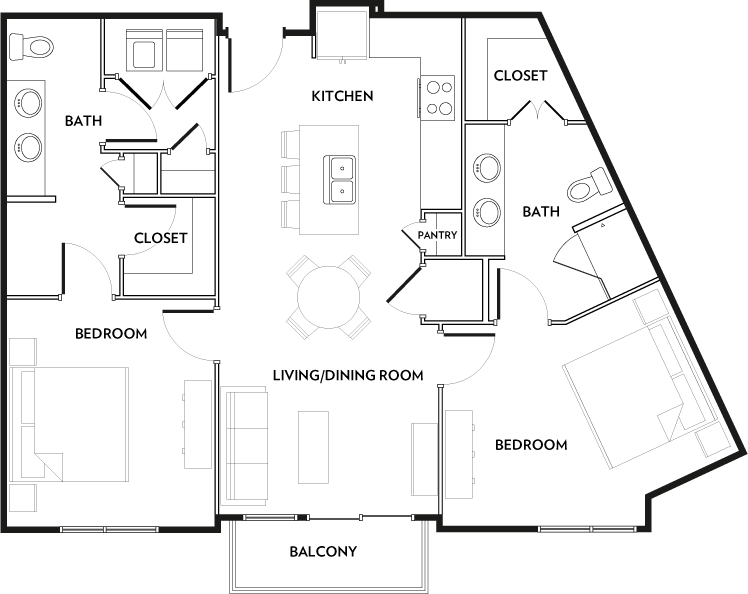 1,037 sq. ft. B1 floor plan