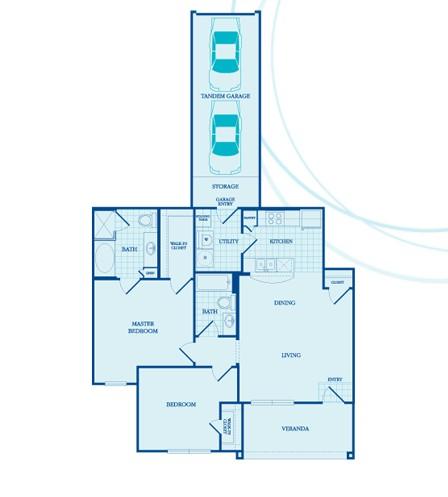 1,042 sq. ft. Princeton -GAR floor plan