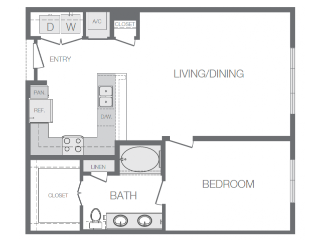 859 sq. ft. E floor plan