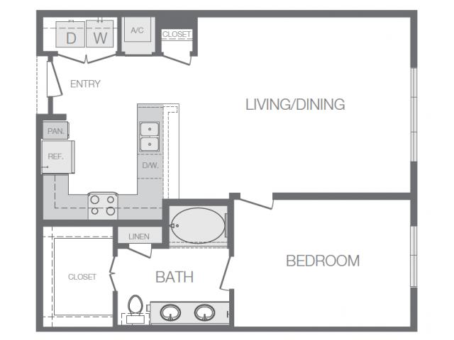 859 sq. ft. E floor plan
