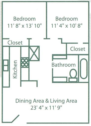 900 sq. ft. B2 floor plan