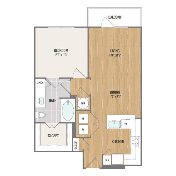 718 sq. ft. A2 floor plan