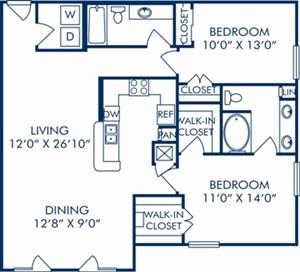 1,195 sq. ft. E3 floor plan