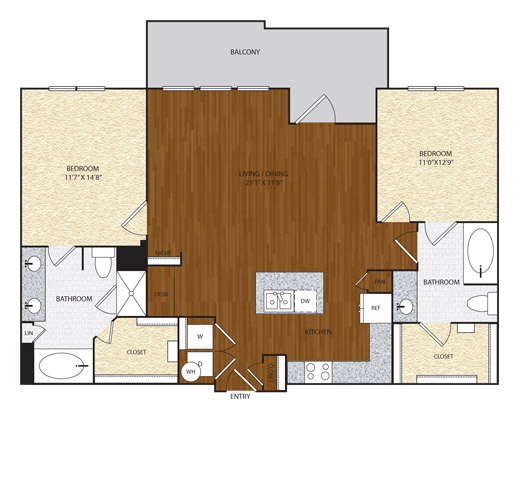 1,228 sq. ft. floor plan